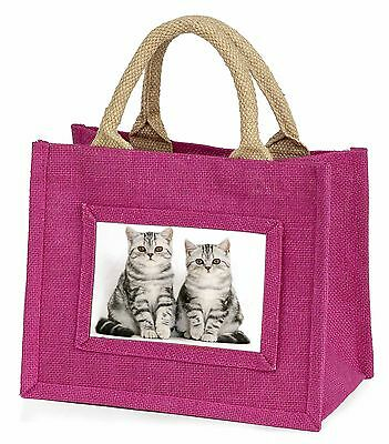 Silver Tabby Kittens Little Girls Small Pink Shopping Bag Christmas G, AC-124BMP