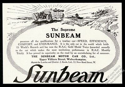 1912 Sunbeam open car illustrated vintage print ad