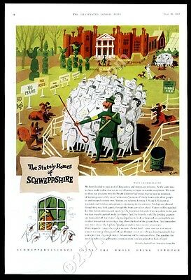 1957 George Him stately country home & guard dogs art Schweppes UK print ad