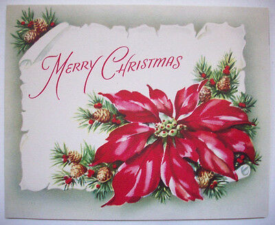 Poinsettia Christmas vintage greeting card *J