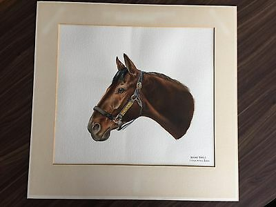 Round Table Signed Original Watercolor of thoroughbred race horse