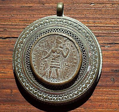 Very Old Ornate Bronze With Ancient Greek Coin Pendant