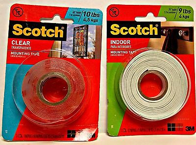 Scotch Clear Mounting Tape  and Scotch Indoor/Outdoor Mounting Tape - Lot of 2