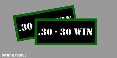 ".30-30 WIN Ammo Can Labels for Ammunition Case 3.5""x1.50"" stickers decals(2PACK)"