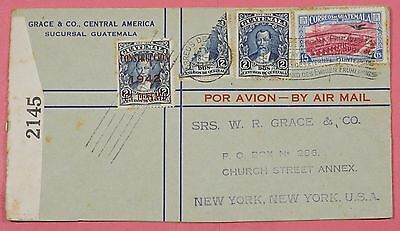 1942 Guatemala Tri Franked Cover W/ Bisect Airmail Wwii Censored To Usa