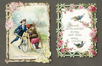 VICTORIAN Cards with DIE CUT EDGES 1880's 2 Greeting Cards Christmas BIBLE VERSE