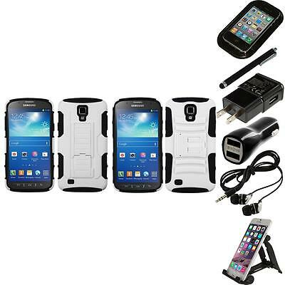 For Samsung Galaxy S4 Active i537 Hybrid IMPACT Hard TUFF Hybrid Case Bundle
