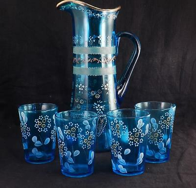 Antique Hand Painted Enamel Blue Sapphire Art Glass Pitcher & 4 Tumblers~Floral