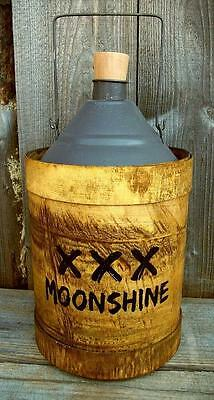 """Rustic Vintage Antique Style 12"""" Wood/Metal Moonshine Whiskey Jug- Country Decor"""