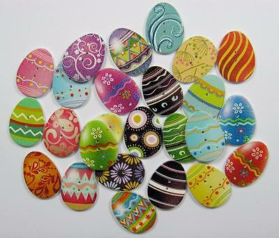 BB BUTTONS EASTER EGGS mixed pk of 10 printed wood craft sewing