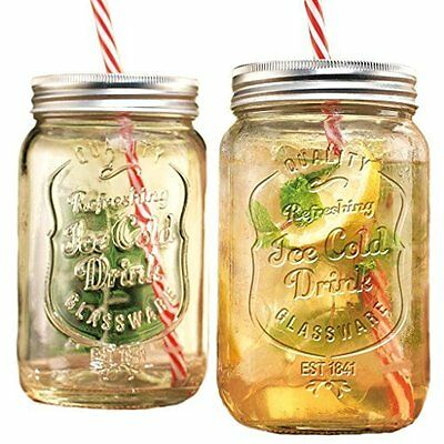 Glass Mason Jar Ideal For Blended Drinks Smoothies & Other Cold Beverages 2Pk