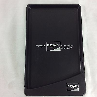 Discover Card Change Tip Tray Credit Charge Pay Coin Black Plastic Restaurant Si