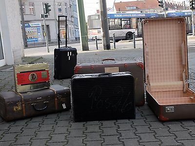 True Vintage schwarzer Koffer 60er Kroko Optik Lack shiny luggage suitcase 60s