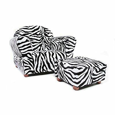 Durable Roundy Chair With Ottoman For Children Ages 2 To 5 By Keet - Zebra