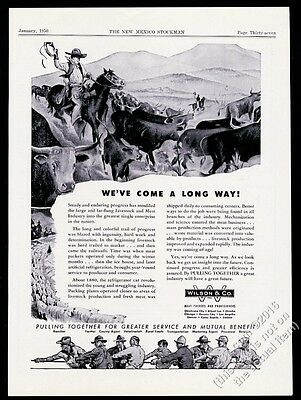 1950 Wilson & Co meat packers cowboy cattle drive cow art vintage print ad