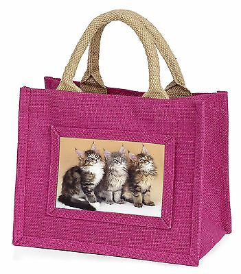 Cute Maine Coon Kittens Little Girls Small Pink Shopping Bag Christmas, AC-28BMP