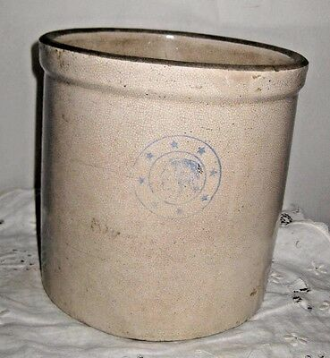 **early Louisville Pottery Stoneware Crock Indian Head Crest**