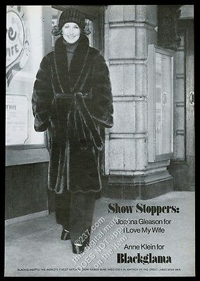1977 Joanna Gleason photo Blackglama Anne Klein coat vintage print ad
