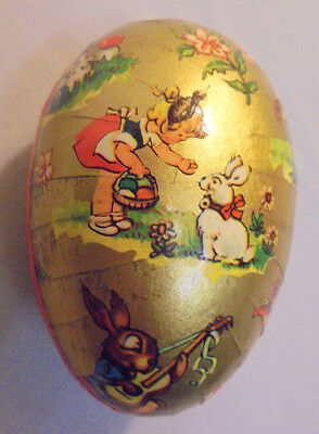"""Easter Egg Kids Bee W. Germany, Sliced Paper Around 3.5""""x2.25"""" 2.5"""" Tall Vintage"""