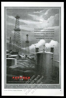 1934 Petreco electric dehydrator oil well derrick art vintage trade print ad