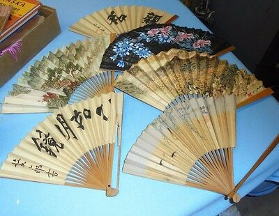 Lot of 6 Vintage Oriental Paper & Wood FANS Decorative Hand Painted Asian
