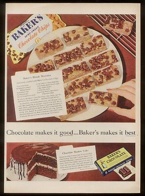 1958 Baker's Chocolate Chips cookie & cake recipe vintage print ad