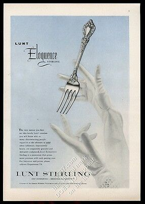 1955 Lunt Sterling Eloquence silver silverware fork photo vintage print ad