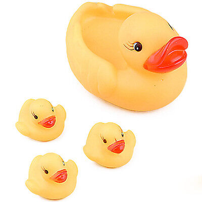 4Pcs Baby Children Bath Toys Cute Rubber Squeaky Duck Ducky Yellow Play