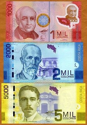 SET, Costa Rica, 1000;2000;5000 Colones, 2009 (2011) P-274-275-276, UNC