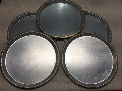 """Lot Of 5-16"""" Pizza Pans-1"""" Deep-Well Seasoned Commercial Pizza Shop Pans-Great!"""