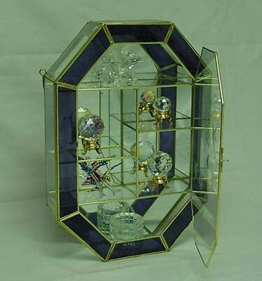 Lavender Stained Glass & Brass Medallion CURIO CABINET DISPLAY CASE. Wall Mount