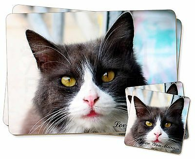 Black and White Cat 'Love You Mum' Twin 2x Placemats+2x Coasters Set, AC-80lymPC