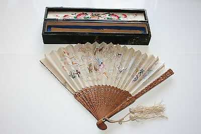 Antique 19c Chinese Bamboo Dragon Phoenix Embroidery Silk Hand Fan Lacquer Boxed