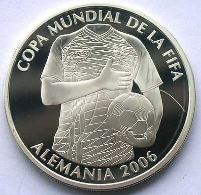 Ecuador 2006 World Cup 25000 Sucres Silver Coin,Proof