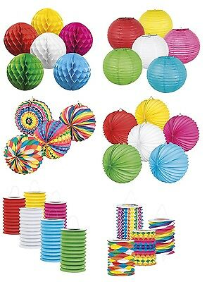 Coloured HONEYCOMB Ball & LANTERN Range - Birthday Party Garland Decoration