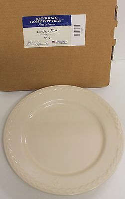 "Longaberger ""AMERICAN HOME POTTERY"" ""LUNCHEON PLATE"" IVORY, Made in America, NEW"