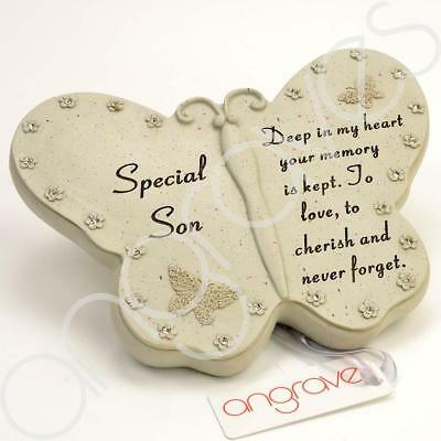 Special Son Diamante Butterfly Graveside Grave Memorial Plaque Ornament