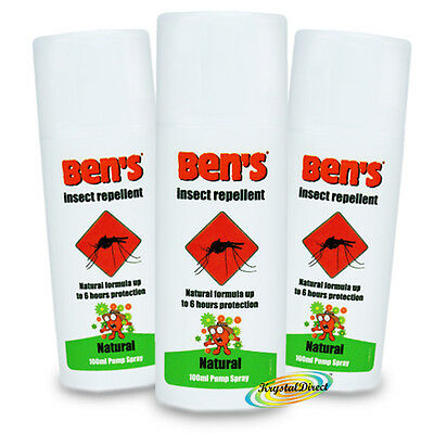 3x Ben's Bens Natural Mosquito Insect Repellent Biting Protection Spray 100ml