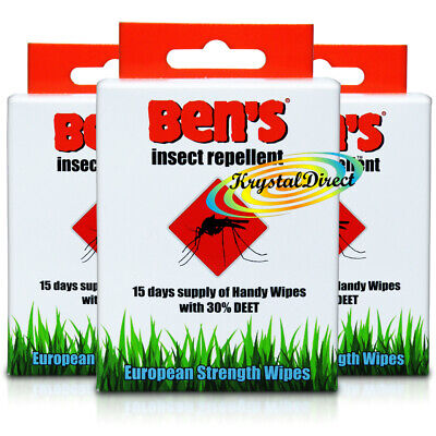3x Ben's Bens Insect Repellent European Strength 15 Handy Wipes Sachets 30% Deet
