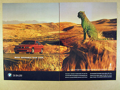 1996 BMW 328i Sedan red car & cheetah photo vintage print Ad