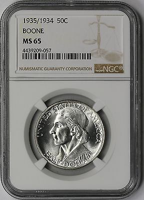 1935/1934 Boone Silver Commemorative Half Dollar 50C MS 65 NGC