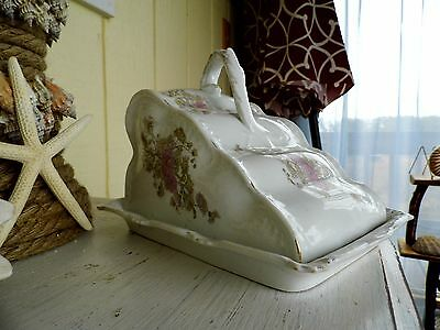 Antique Victorian Porcelain Cheese Dish ~ Fancy Pink Floral