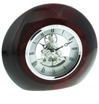 Polished Piano Wood Round Mantel Clock Silver Dial & Skeleton Movement W2831