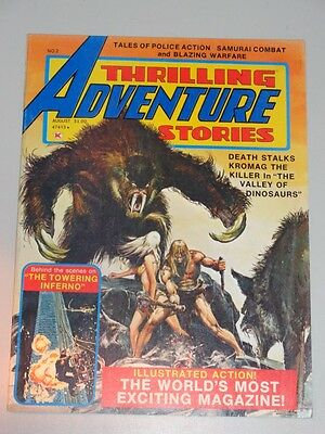 Thrilling Adventure Stories #2 August 1975 Us Magazine Valley Of Dinosaurs<