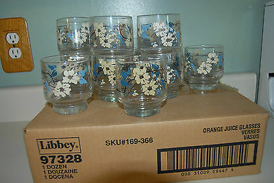 "Libbey Juice Glasses 3 1/4"" Tall Set of 11 Blue & Cream Flowers Original Box"