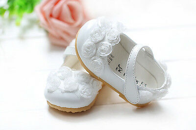 New Baby Girls White Christening Party Shoes 12-18 Months