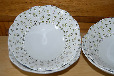 J G Meakin Sterling Forget Me Not Soup Salad Bowls 3 Green Flowers England