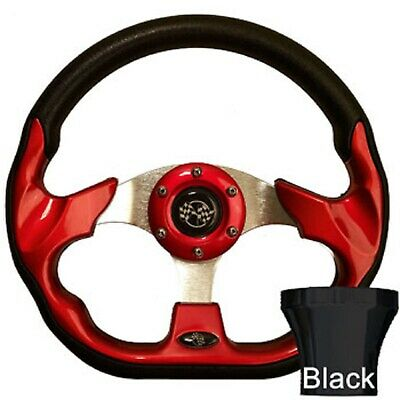 Club Car DS 1982-Up Golf Cart Red Racer Steering Wheel Black Adapter Kit