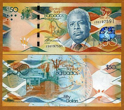 Barbados, $50, 2016, P-New, UNC   Commemorative, 50 years of independence