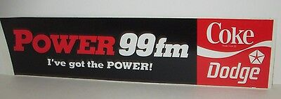 Power 99 Fm Radio Philadelphia Coca Cola Coke Dodge Dealers Bumper Sticker 1985